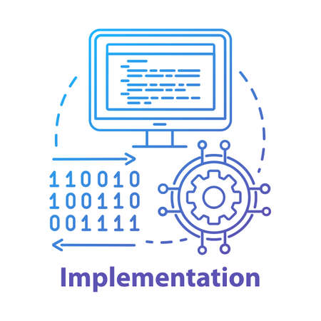 Implementation concept icon. Software coding. Computer programming and deployment idea thin line illustration. Information technology. Vector isolated outline drawing 向量圖像