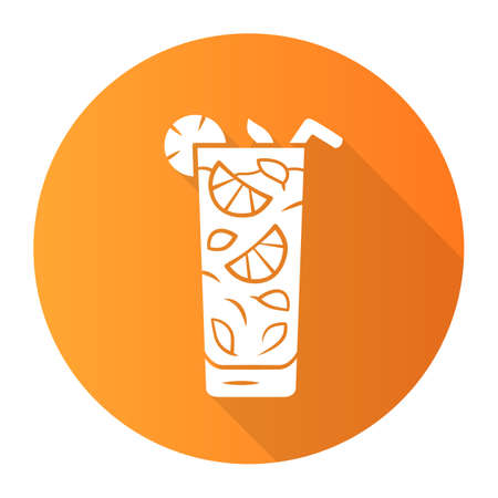 Moxito orange flat design long shadow glyph icon. Mojito cocktail in highball glass slice of citrus and straw. Mixed Refreshing alcohol drink with mint and lemon. Vector silhouette illustration  イラスト・ベクター素材