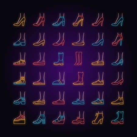 Women shoes neon light icons set. Female fashion, summer and autumn trendy footwear. Stiletto high heels, sandals, pumps. Winter and fall boots. Glowing signs. Vector isolated illustrations