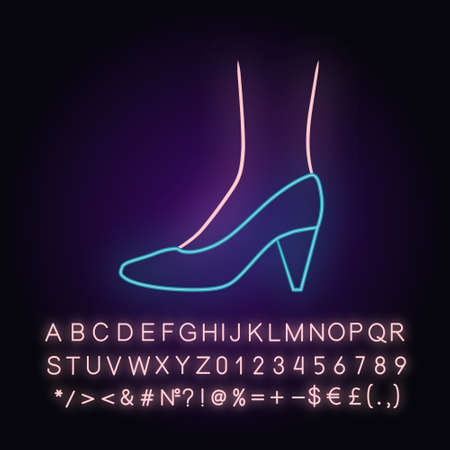 Cone heel shoes neon light icon. Woman stylish formal footwear design. Female casual stacked high heels, pumps. Glowing sign with alphabet, numbers and symbols. Vector isolated illustration Ilustracja