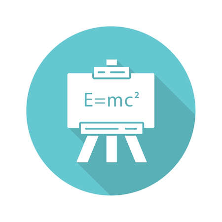 Modern physics turquoise flat design long shadow glyph icon. Theory of relativity and quantum mechanics. Up-to-date physics and learning. Einstein formula on whiteboard. Vector silhouette illustration Illustration