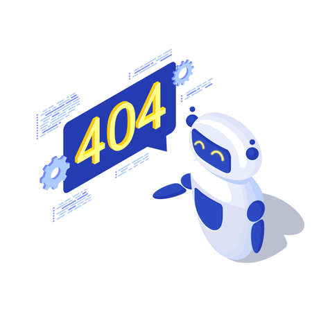 Server not found automated message generation isometric illustration. Robot, AI assistant with 404 notification in speech bubble. Disconnected server, broken link problem. Web search malfunction