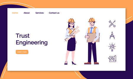Trust engineering landing page template. Architect and contractor website interface with flat illustrations. Building development homepage layout. Construction industry web banner, webpage concept Stok Fotoğraf - 131294446