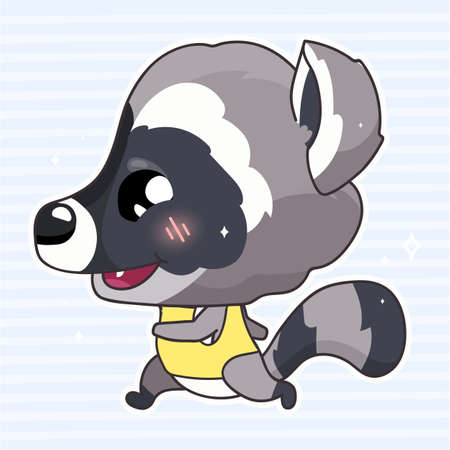 Cute raccoon kawaii cartoon vector character. Adorable and funny animal running, jogging isolated sticker, patch. Anime baby raccoon enjoy healthy, active lifestyle emoji on blue background Иллюстрация