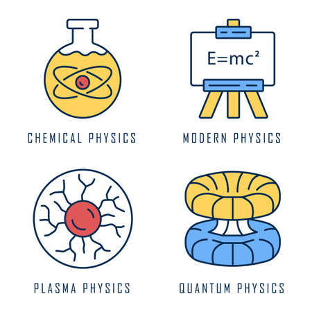 Physics branches color icons set. Chemical, modern, plasma and quantum physics. Quantum mechanics, physicochemical phenomena learning disciplines. Scientific discoveries. Isolated vector illustrations