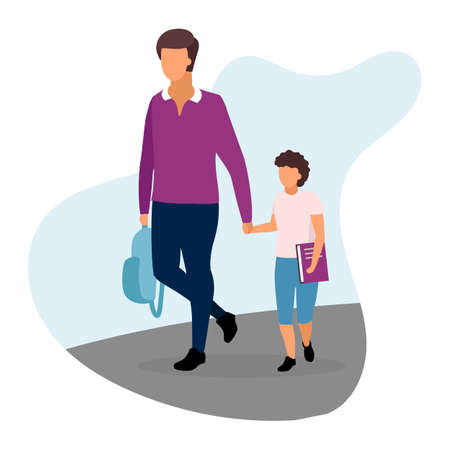 Father with son flat illustration. Older and younger brothers going home and holding hands cartoon characters. Teenage and preteen schoolchildren with textbook and backpack. Parent and schoolboy Foto de archivo - 131213585