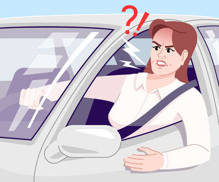Driving stress flat vector illustration. Annoyed businesswoman yelling in car cartoon character. Irritated young driver in automobile, standing in traffic jam. Stressful commuting to work