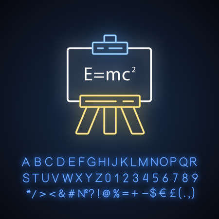 Modern physics neon light icon. Theory of relativity and quantum mechanics. Einstein formula on whiteboard. Glowing sign with alphabet, numbers and symbols. Vector isolated illustration