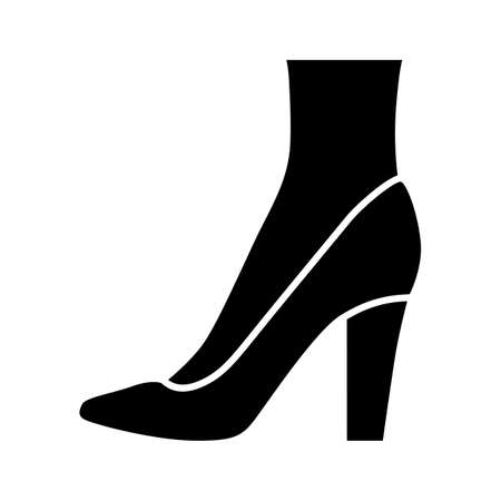 Pumps glyph icon. Woman stylish and fashionable formal footwear design. Female casual stacked high heels, luxury modern court shoes. Silhouette symbol. Negative space. Vector isolated illustration