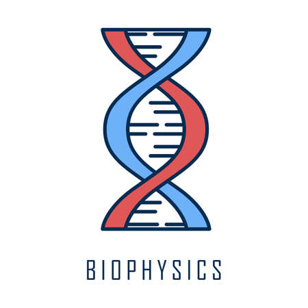 Biophysis color icon. Genetics research. DNA helix molecule structure. Genome scientific studies. Biotechnological, genetical engineering. Chromosome gene. Isolated vector illustration