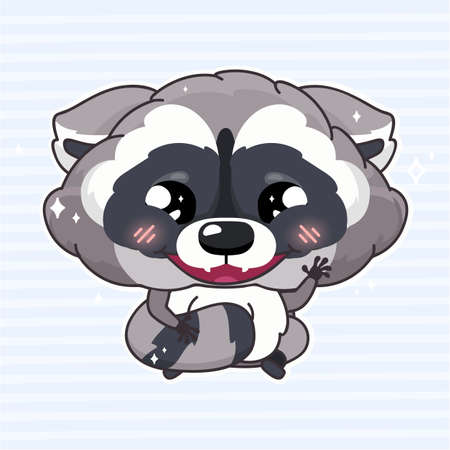 Cute raccoon kawaii cartoon vector character. Adorable, happy and funny animal smiling and waving hi isolated sticker, patch, kids book illustration. Anime baby wild raccoon emoji on blue background
