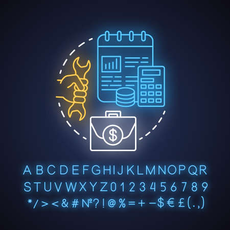 Payroll taxes neon light concept icon. Employee and employer taxation idea. Paying withholding tax to government. Glowing sign with alphabet, numbers and symbols. Vector isolated illustration Çizim