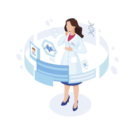 Doctor studying patient profile isometric illustration. Futuristic working place with augmented reality options. Cartoon physician, cardiologist in white coat analysing client heart rate online