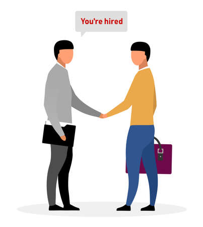 Inviting new employee flat vector illustration. HR expert hiring applicant for vacancy. Cartoon recruiting agent informing jobseeker about employment decision. Handshake after successful interview