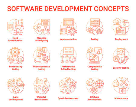 Software development concept icons set. Designing, programming, testing, fixing and maintaining programs. App creation idea thin line illustrations. Vector isolated outline drawings 向量圖像