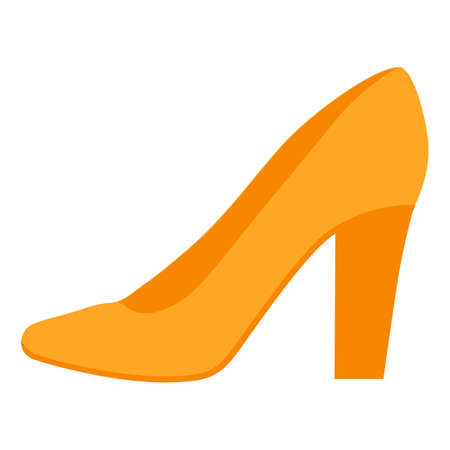 Pumps yellow flat color icon. Woman stylish formal footwear design. Female casual stacked high heels, luxury modern court shoes. Fashionable classic clothing accessory. Vector silhouette illustration