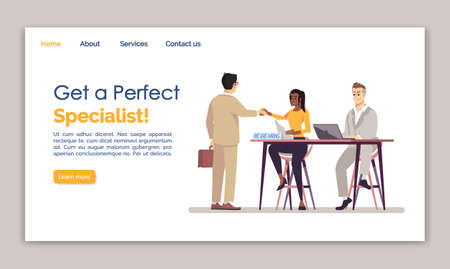 Get a perfect specialist landing page vector template. HR agency website interface idea with flat illustrations. Employment service homepage layout. Staff hiring web banner, webpage cartoon concept Ilustração