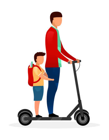 Schoolchildren riding scooter flat vector illustration. Schoolboy with younger brother cartoon characters on white background. Teenage and preteen children going to school. Friends have fun Vektorgrafik