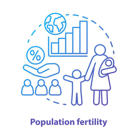 Population fertility concept icon. Birthrate idea thin line illustration in blue. Birth control in different countries. Planned parenthood. People growth. Vector isolated outline drawing Stock Illustratie
