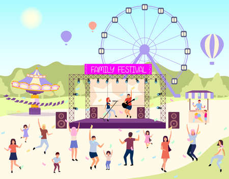Family festival activities flat vector illustration. Open air live performance. Rock, pop musician concert in park, camp.Children and parents spending time together. Dancing cartoon characters