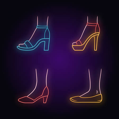Women formal shoes neon light icons set. Female elegant high heels footwear. Stylish ladies classic pumps, ballerinas, ankle strap sandals, stilettos. Glowing signs. Vector isolated illustrations Illustration