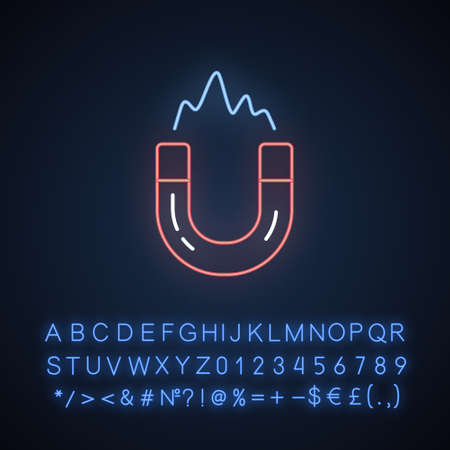 Electromagnetism neon light icon. Electromagnetic force. Magnetic field phenomena. Magnetism effect. Horseshoe magnet. Glowing sign with alphabet, numbers and symbols. Vector isolated illustration