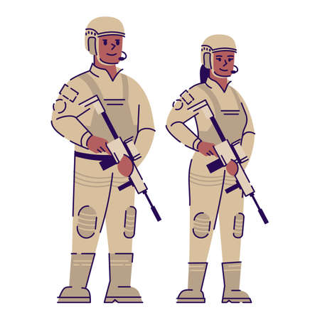 Soldiers flat vector character. Military man and woman with weapon and uniform cartoon illustration with outline. African american army soldiers couple Professional snipers, officers isolated on white Ilustração