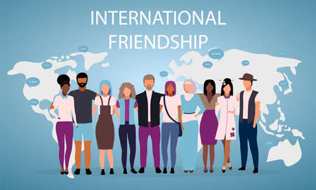 International friendship poster vector template. Multiracial and multicultural friends. Brochure, cover, booklet page concept design with flat illustrations. Advertising flyer, leaflet, banner layout