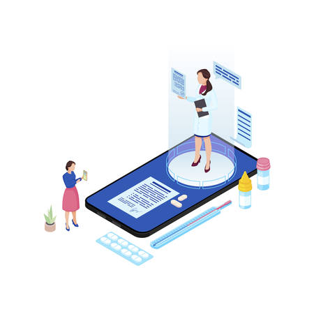 Online doctor appointment isometric illustration. Cartoon medical worker hologram prescribing pills, medication for patient isolated characters. Ill client informing remote doctor about symptoms Illustration