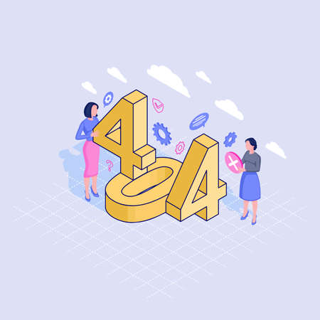 404 helpline service isometric illustration. IT specialists fixing page not found problem. Contacting technical call center expert to restore server connection. Unavailable webpage, website