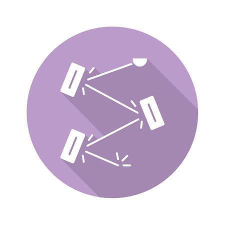 Laser physics violet flat design long shadow glyph icon. Optics branch. Quantum electronics, laser construction, optical cavity. Light reflection. Optical experiment. Vector silhouette illustration