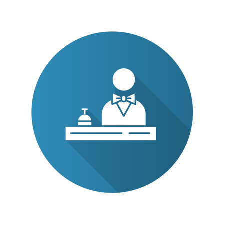 Hotel reception blue flat design long shadow glyph icon. Concierge service. Manager, butler, majordomo wearing suit. Guest registration. Motel lobby receptionist. Vector silhouette illustration