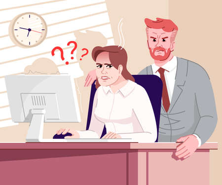 Boss pressure flat vector illustration. Colleague standing near employee table cartoon characters. Working tension. Frightened office manager working on computer, angry employer looking at screen