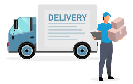 Deliveryman with parcels flat illustration. Courier, postman holding cardboard boxes and clipboard isolated cartoon character on white background. Delivery van, cargo truck. Shipping service concept