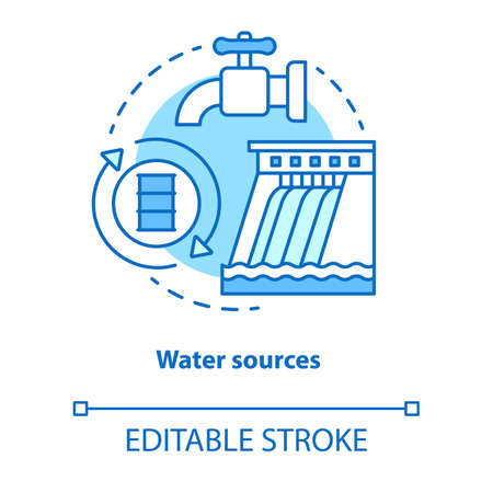 Water sources concept icon. Drinking water supplies idea thin line illustration. Reasonable usage and management of aqua resources. Vector isolated outline drawing. Editable stroke