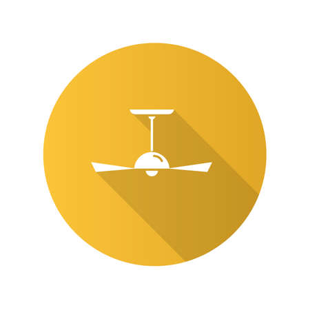 Ceiling fan yellow flat design long shadow glyph icon. Cooling device with propeller. Electric ventilator, air conditioner. Temperature regulating home appliance. Vector silhouette illustration Foto de archivo - 131294822