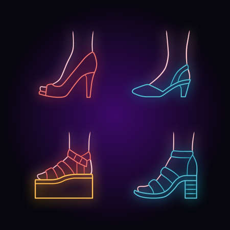 Women summer shoes neon light icons set. Female elegant formal and casual footwear. Stylish platform and block heel sandals. Fashionable stilettos. Glowing signs. Vector isolated illustrations Ilustracja