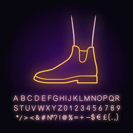 Women ankle boots neon light icon. Chelsea trendy shoes side view. Female flat heel footwear design for fall. Glowing sign with alphabet, numbers and symbols. Vector isolated illustration