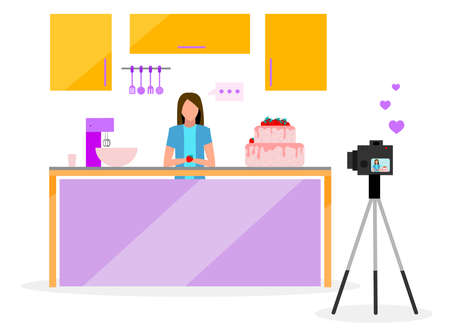 Cook blogger flat vector illustration. Filmmaker, vlogger, influencer streaming video. Confectionery, bakery video tutorial. Social media vlog content. Isolated cartoon character on white background