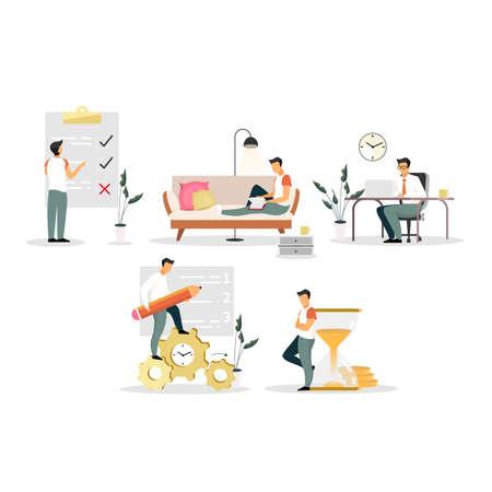 Conjunto de ilustraciones vectoriales planas de gestión del tiempo. Optimización del flujo de trabajo, multitarea. Trabajadores de oficina, gerentes, emprendedores, empresarios. Lista de tareas, planificación del trabajo personajes de dibujos animados aislados