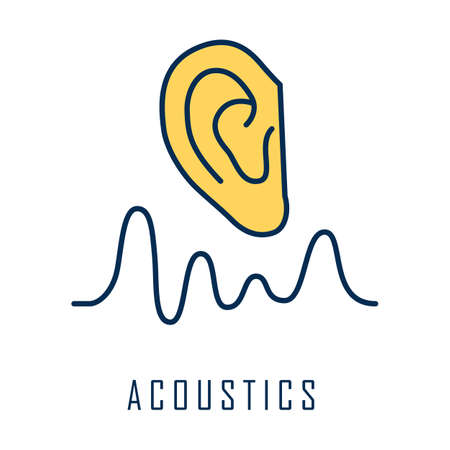 Acoustics color icon. Sound transmission and hearing effect. Physics branch. Soundwave frequency, waveform generation. Studying mechanical waves and signals. Isolated vector illustration