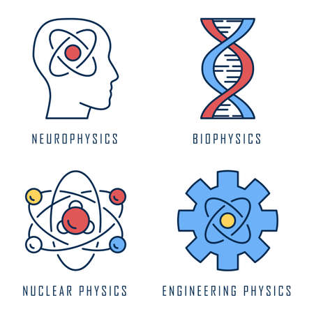 Physics branches color icons set. Neurophysics, biophysics, engineering and nuclear physics. Human brain, structure of molecule. Physical processes learning disciplines. Isolated vector illustrations Ilustracja