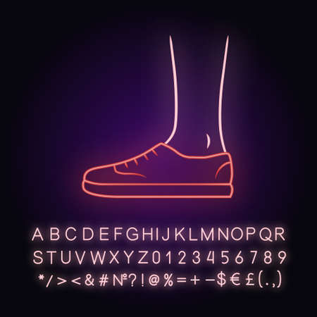 Trainers neon light icon. Women and men stylish footwear design. Unisex casual sneakers, modern comfortable tennis shoes. Glowing sign with alphabet, numbers and symbols. Vector isolated illustration