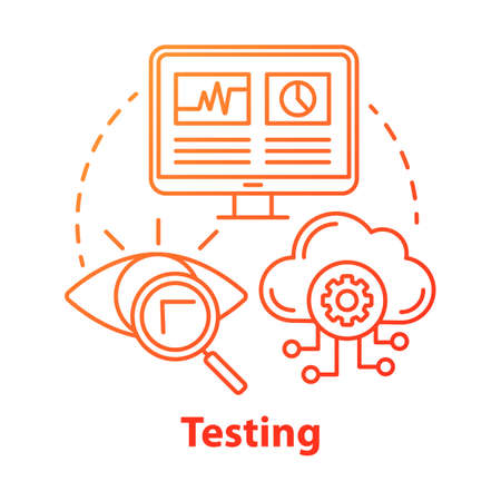 Testing concept icon. Search for information on computer and cloud storage. Web analytics. Defects recognizing idea thin line illustration. Vector isolated outline drawing 向量圖像