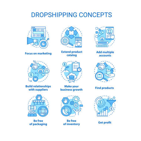 Dropshipping concept icons set. Online delivery service idea thin line illustrations. Focus on marketing, make your business growth, get profit. Vector isolated outline drawings. Editable stroke