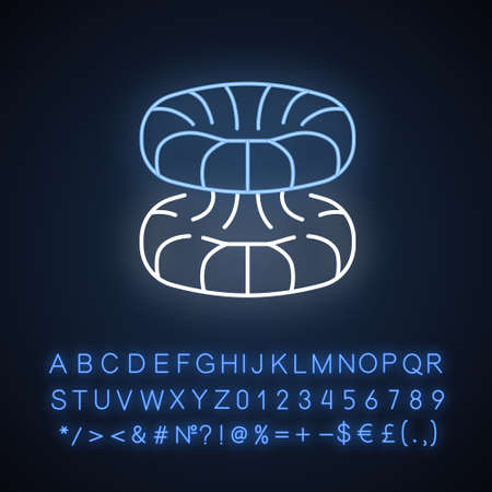 Quantum physics neon light icon. Nuclear energy phenomenon. Futuristic nanotechology. Quantum mechanics theoretical model. Glowing sign with alphabet, numbers and symbols. Vector isolated illustration