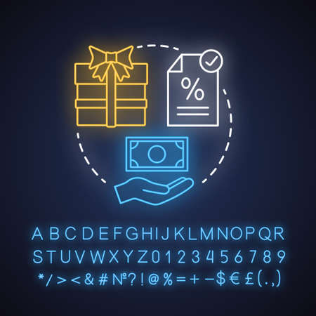 Gift taxes neon light concept icon. Taxable goods idea. Interest rate on present. Tax on transferring wealth. Glowing sign with alphabet, numbers and symbols. Vector isolated illustration Illusztráció