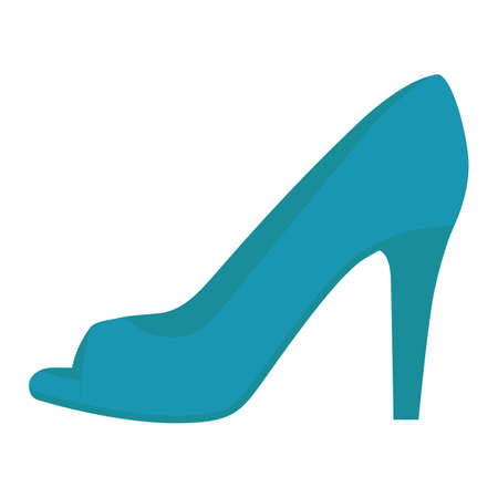 Peep toe high heels blue flat color icon. Woman stylish footwear design. Female casual shoes, luxury modern summer stilettos. Fashionable party clothing accessory. Vector silhouette illustration Ilustracja