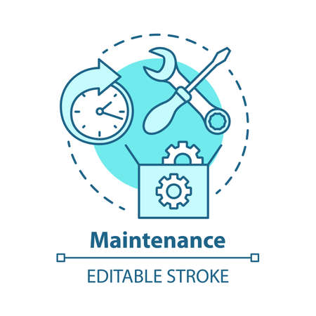 Maintenance concept icon. Round-the-clock workshop. Equipment setup. Repairs. Support. Warranty service idea thin line illustration. Vector isolated outline drawing. Editable stroke Çizim