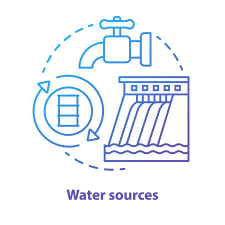 Water sources concept icon. Drinking water supplies idea thin line illustration in blue. Reasonable usage and management of aqua resources. River pollutions. Vector isolated outline drawing Ilustração
